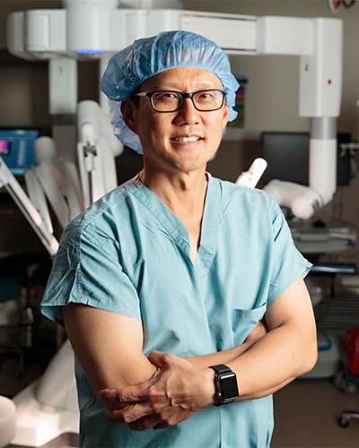 A surgeon in an operating room